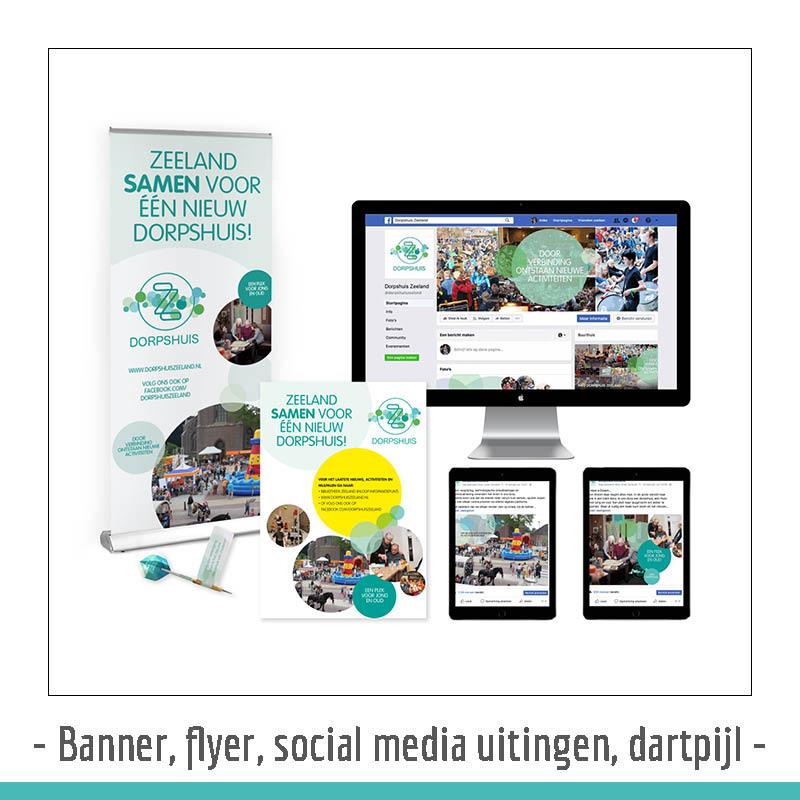 banner, flyer en social media uitingen dorpshuis zeeland